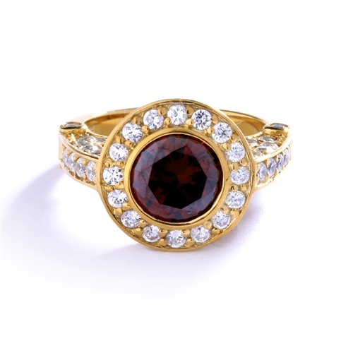 Diamond Essence Designer Ring with 1.5 cts.Chocolate Center, surrounded by small round stones.3.0 cts.T.W. set in 14K gold Vermeil.