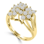 Diamond Essence Designer Ring With 1.70 Cts.T.W. Round Brilliant Stones Set In 14K Gold Vermeil Prong Setting.