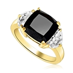 Half Moon Ring - 1.0 Cts. Half Moon Shaped Diamond Essence, set on each side of 4.0 cts. Cushion cut Onyx Essence in center, 6.0 Cts. T.W. set in 14K Gold Vermeil.