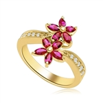 Dual Flowers - Curvy Band shines bright and Ruby Oval Flower Cluster sits pretty in this unique design. 2 Ct. T.W. In 14k Gold Vermeil.