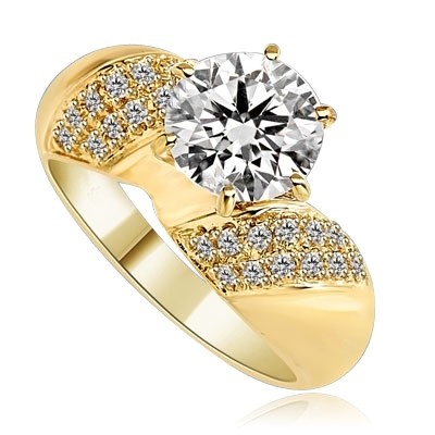 Sparkling Twist - 2.0 Cts. Round Brilliant Diamond Essence Set in center with cluster of Melee, on each side making twisted design, 2.35 Cts. T.W. set in 14K Gold Vermeil.