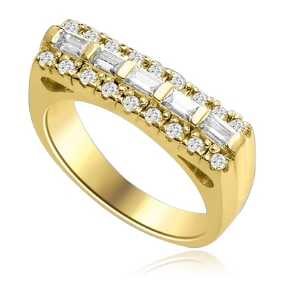 Now this one ring is going to set the pulse thumping! Wide Band is adorned with 5 X 0.25 Ct. Baguettes sexily surrounded by Round Accent Melee. 2 Cts. T.W. In 14k Gold Vermeil.