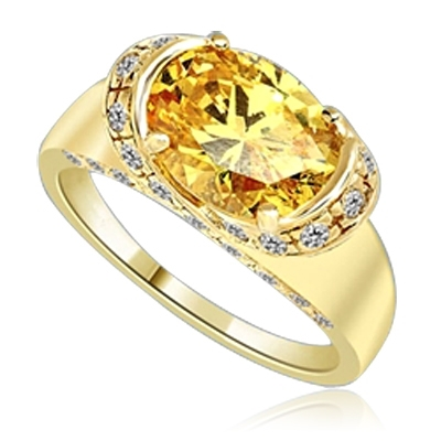 East West Ring- Oval cut Canary Essence set in center with Melee set on side setting going around in criss cross design from center, down the side of the band. 3.25 Cts T.W. set in 14K Gold Vermeil.