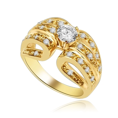 Designer Ring with 0.50 Ct. Round Brilliant Diamond Essence in center with five rows of sparkling Melee on both side. 0.85 Cts. T.W. set in 14K Gold Vermeil.