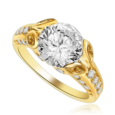 Designer Ring with 3.0 Cts. Round Brilliant Diamond Essence, artistically set in leaf shaped prongs in center, set off by Melee on either side of the band. 4.0 Cts. T.W. set in 14K Gold Vermeil.