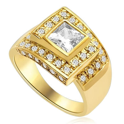 A Designer's Dream Ring that defies all ordinary! 1.5 Ct. Princess Cut is set in mesemerizing maze of channel set round accents. Approx. 3 Cts. T.W. In 14k Gold Vermeil.