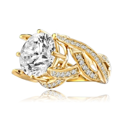 Outstanding - 8.5 Cts. Round Brilliant Diamond Essence shinning in center surrounded by Melee in curvy setting. Perfect for any Occasion!! 9.5 Cts. T.W. set in 14K Gold Vermeil.