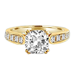 Diamond Essence Ring with 2.0ct. Cushion Cut stone set in eight prongs with round stones on each side, 3.5ct. T.W. set in 14K Gold Vermeil.