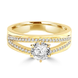 Diamond Essence Ring with 1.0ct. Round brilliant stone set in six prongs with two rows of round stones on each side, 1.20ct. T.W. set in 14K Gold Vermeil.
