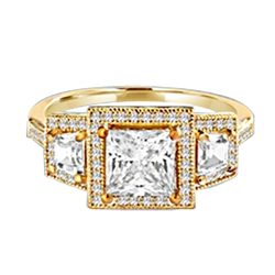 Diamond Essence Ring with 1.5ct. Princess Cut stone set in four prongs with baguettes on each side surrounded by round stones, 2.5ct.T.W. set in 14K Gold Vermeil.