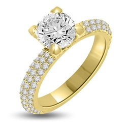Wonderful Brilliance! You will behold this beauty forever with its glittering 1.25 Cts. Round Diamond Essence Brilliant sitting atop on 1.25 Cts. of Sheer sparkles on the band and on the prongs. Appx. 2.50 Cts.T.W. set in 14K Gold Vermeil.