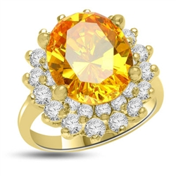 Canary Charisma! Magnificent Brilliance of 4 Ct. Canary Essence stone sitting on top of flower bed of 2 Cts. Of Round Briliant Masterpieces. Appx. 6 Cts. T.W. set in 14K Gold Vermeil.