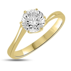 Dalicate Darling! 1 Ct. Solitaire Diamond Essence Masterpiece set on a curving band in tiffany style set in 14K Gold Vermeil.