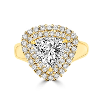 Beautiful designer Ring - Trilliant cut Diamond Essence, 3 ct center set in three prongs setting, surrounded by two rows of Diamond Essence melee. 5.25 cts.t.w.in 14K Gold Vermeil.