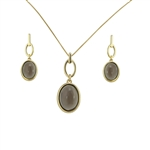 Diamond Essence Smoky Obsidian Earring & Pendant in 14k gold plated over Sterling Silver- VSET328SO