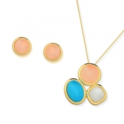 Diamond Essence Combination of natural stones Earring & Pendant in 14k gold plated over Sterling Silver- VSET358RSM