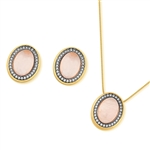 Diamond Essence Rose Quartz Earring & Pendant set in 14k Gold & Platinum Plated over  Sterling Silver- VSET399RQ