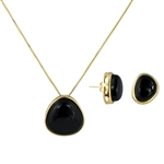 Diamond Essence Black Agate Earring & Pendant in 14k gold plated over sterling silver bezel setting-VSET414BA