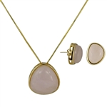 Diamond Essence Rose Quartz Earring & Pendant in 14k gold plated over Sterling Silver  bezel setting-VSET414RQ