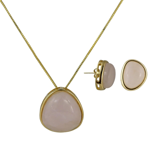Diamond Essence Rose Quartz Earring & Pendant in Vermeil bezel setting-VSET414RQ