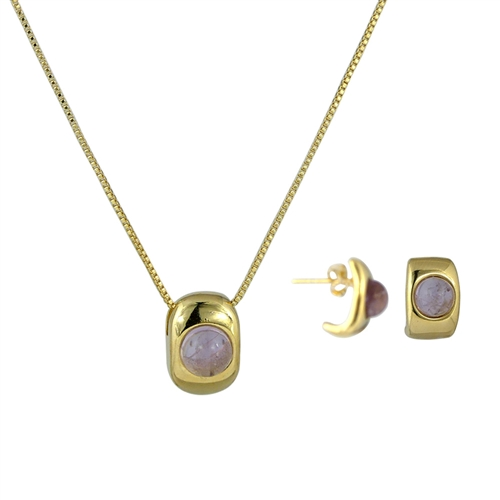 Diamond Essence Amethyst Earring & Pendant in Vermeil- VSET417A