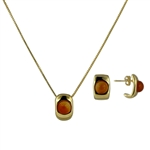Diamond Essence Red Agate Earring & Pendant in 14k gold plated over Sterling Silver- VSET417RA