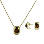 Diamond Essence Tiger Eye Earring & Pendant in 14k gold plated over Sterling Silver- VSET417TE