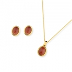 Diamond Essence Red Agate Earring & Pendant in 14k gold plated over Sterling Silver- VSET422RA