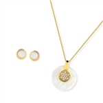 Diamond Essence Mother of Pearl Earring & two piece Pendant in 14k Gold plated over Sterling Silver- VSET431MP