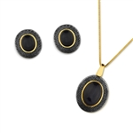 Diamond Essence Black Agate Earring & Pendant in Vermeil - VSET435BA