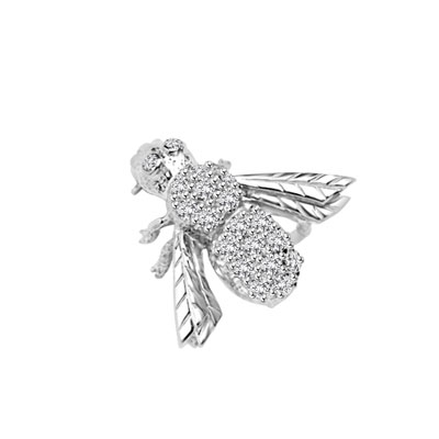 Attractive Bee Pin, 0.85 Cts. T.W. with a bevy of Round Cut Jewels. 14K Solid Gold or 14K Solid White Gold.