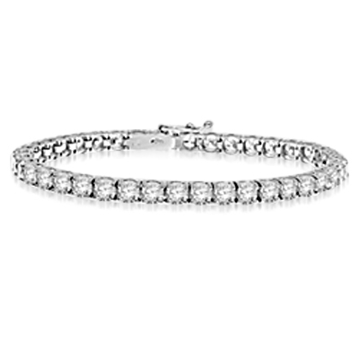 "White gold -7"" round brilliant stone bracelet"