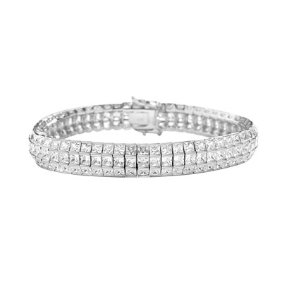 "7"" long Lovely best selling bracelet with 23.25 cts.t.w. of Princess cut Diamond Essence set in 14K White Gold."