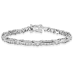 6.75 inch bracelet with unusual link setting in 14K Solid White Gold