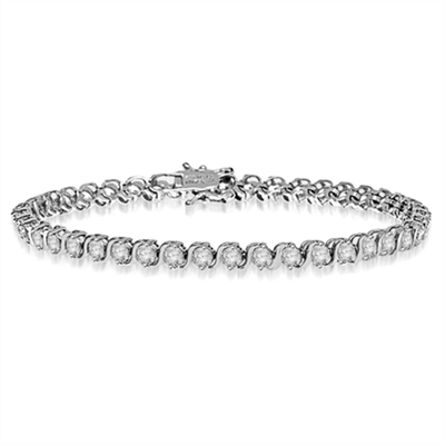 6.75 inch bracelet with S links in bezel setting. 4 cts. T.w. in 14K Solid White Gold.