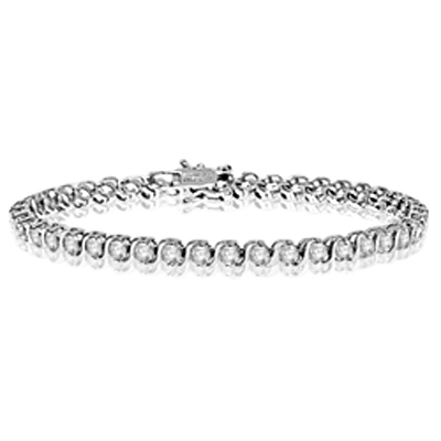 "7 inch tennis bracelet with 0.25 cts. Round stones in ""S"" bar setting. 6.0 Cts. T.W. set in 14K Solid White gold."