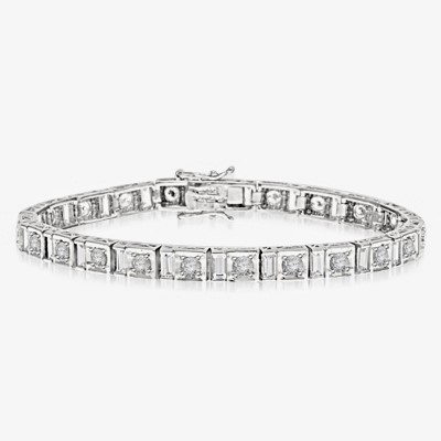 "7"" long stunning design bracelet with Diamond Essence Emerald cut baguettes and round brilliant Diamond Essence masterpieces set in ethnic setting of 14k Solid White Gold. Appx. 9.0 Cts.T.W."