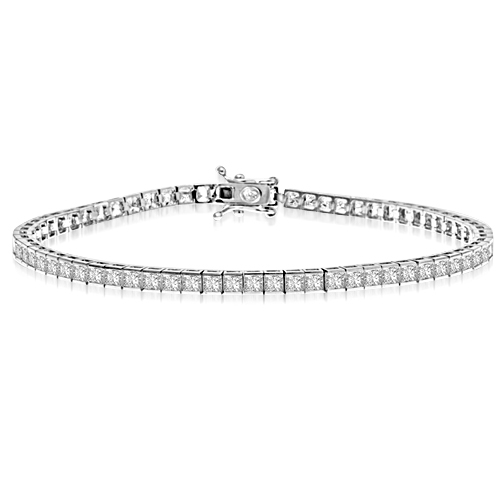 7 Inch Bracelet with princess essence masterpieces crafted in bezel setting set in 14K Solid White Gold.