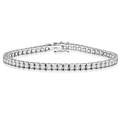 Diamond Essence 7 inches long classic bracelet, showing off appx. 6.0 cts. round briliiant stones set in tension bar setting of 14K White Gold.