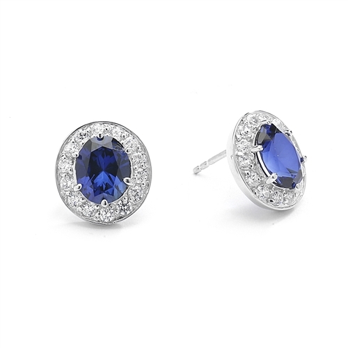 Sapphire&round stone Platinum Plated Over Silver stud earring.