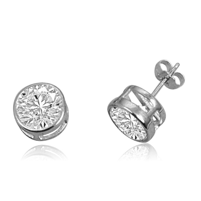 Bezel set 1 cts stud earrings in white gold