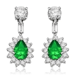 Clip Pear with Emerald Essence earrings in white