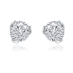 2ct round-cut stone earring in 14K Solid White Gold