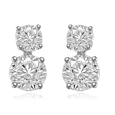Two stone round diamond solid white gold earrings