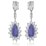 Pear cut sapphire&round stone white gold earring