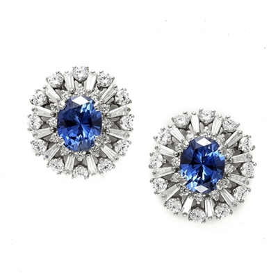 Diamond Essence Designer Earrings with 2.5  carat  Oval Sapphire Essence  in the center, surrounded by  Diamond Essence round stones and baguettes. Appx. 9.0 cts.t.w. Just perfect for all occasions. In 14k Solid White Gold.