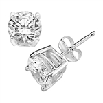 Prong Set Stud Earrings with Synthetic Round Cut Diamond by Diamond Essence set in 14K White Gold - 6 Cts.t.w.