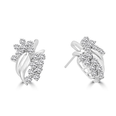 14K White Gold cluster earrings with round jewels. 3.0 cts.t.w.
