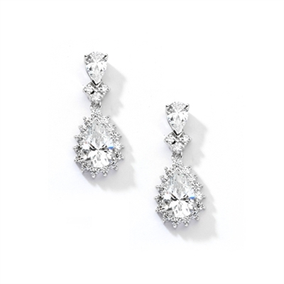 7ct white essence earrings in 14K Solid White Gold