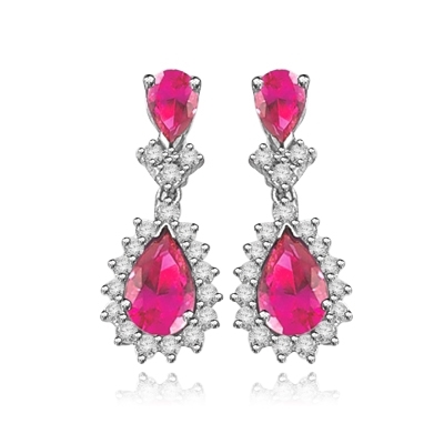7 ct ruby essence, 2 ct ruby accents white earrings
